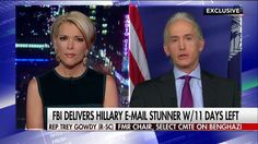 10/28/16 - 'Author of Her OWN Destiny':  Rep. Trey Gowdy (R-SC) Says Hillary Has No One to Blame But HERSELF !!!. . . He believes the FBI's newly reopened investigation into Hillary Clinton's private email server presents more questions than answers, but there's one person who could answer those questions now: Clinton herself.