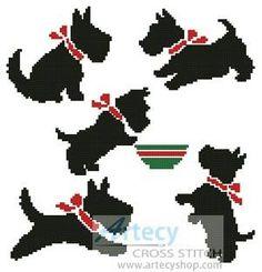 Scotty Dogs - cross stitch pattern designed by Tereena Clarke. Counted Cross Stitch Patterns, Cross Stitch Charts, Cross Stitch Designs, Cross Stitch Embroidery, Embroidery Works, Embroidery Patterns, Diy Embroidery For Beginners, Dog Pattern, Cross Stitch Animals