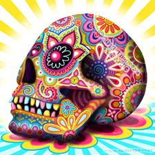 Colorful 3D Day of the Dead Sugar Skull by Thaneeya
