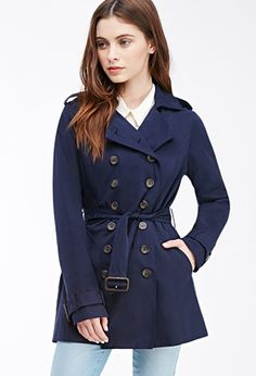 Double-Breasted Trench Coat   Forever 21 - 2000136048