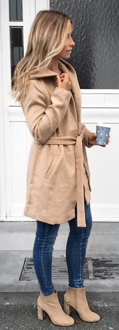 #winter #outfits brown overcoat with blue denim jeans and studded brown suede side-zip boots