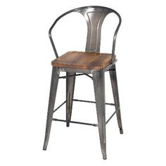 Metropolis Metal Counter Stool Wood Seat, Gunmetal