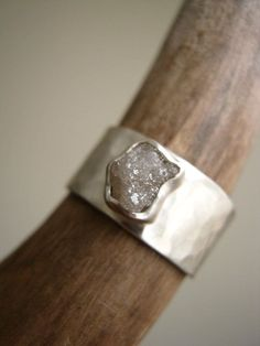 Rough diamond on Wide Hammered band - Engagement, Wedding, Anniversary Ring in Sterling Silver via Etsy