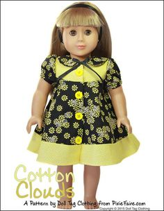 Cotton Clouds dress pattern by Doll Tag Clothing from PixieFarie