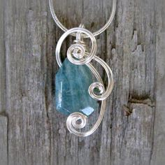 Aquamarine Wire Wrapped Pendant Necklace in by CareMoreCreations