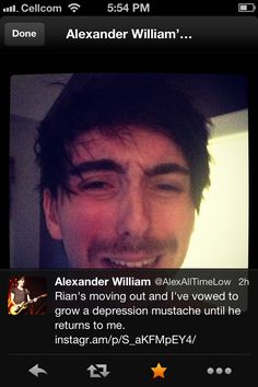 "Most people: ""Please come back Rian!"" Alex Gaskarth: ""I've vowed to grow a depression mustache until he returns to me."""