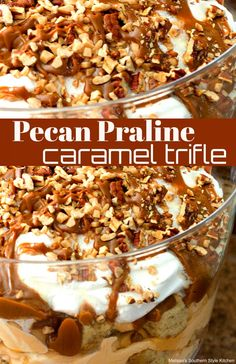 This glorious Pecan Praline Caramel Trifle is a celebration of all of my favorite things. Bite-size cubes of homemade pecan praline buttermilk pound cake are layered with caramel pudding, whipped cream, caramel drizzle and toasted pecans Mini Desserts, Trifle Desserts, Just Desserts, Delicious Desserts, Plated Desserts, Dessert Trifles, Oreo Trifle, Cheesecake Trifle, Trifle Dish
