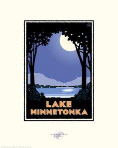 Landmark Series Lake Minnetonka Moon MN by by NumericPress Vintage Posters, Vintage Art, Feeling Minnesota, Page Frames, Full Moon Night, Lake Art, Lake Cabins, Travel Posters, Moonlight
