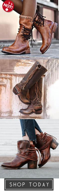c100ca40952 Back Zipper Vintage Lace-Up Holiday Mid-calf Boots