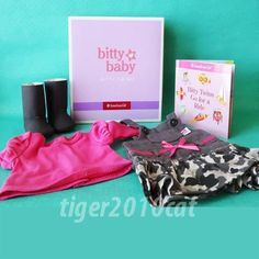 American Girl Bitty Baby Twin Camo Jumper Outfit for Dolls Book NIB AUTHENTIC