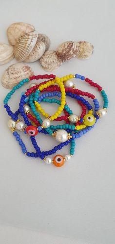 Boho Jewelry, Handmade Jewelry, Handmade Items, Jewelry Shop, Handmade Gifts, Jewellery, Evil Eye Bracelet, Bracelet Set, Seed Bead Bracelets