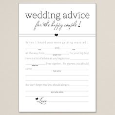 Have wedding or bridal shower guests fill out these Cherished Love Wedding Libs for a fun way to gain knowledge on how to live happily ever after.