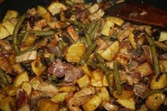 Meat Recipes, Cooking Recipes, Healthy Recipes, Hungarian Recipes, Breakfast Recipes, Bacon, Pork, Food And Drink, Vegetables