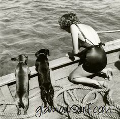 Woman and Two Dachshunds (1939) by one of Vogue's first female photographers, Toni Frissell (1907-1988)