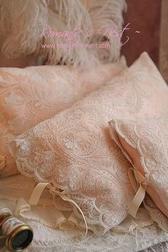 Lace covers for bedroom throw pillows are so feminine and sexy