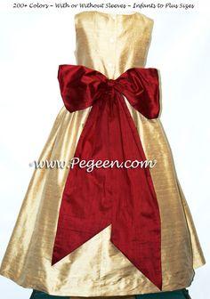 Spun Gold and Cranberry flower girl dress in silk
