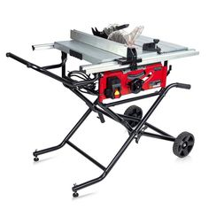 15 Amp 10 in. Commercial Bench-Top Table Saw w/ Portable Stand Power Tool Wheels Best Table Saw, Table Saw Stand, Diy Table Saw, Benchtop Table Saw, Table Saws For Sale, Jobsite Table Saw, Portable Table Saw, Best Circular Saw, Table Saw Blades