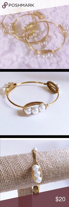 SET OF 3 Pearl Bangles Includes (3) bangles handmade with quality glass pearls and gold colored wire. Tarnish resistant. Diameter is 2.75 inches across. Jewelry Bracelets
