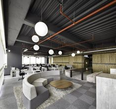 Commercial office, JWT Bogota Headquarters | exposed ceiling | raw industrial ceiling