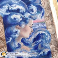 A goddess of the ocean surges into life with magnificent ocean waves as her hair. A goddess of the Creative Office Decor, Ocean Home Decor, Goddess Hairstyles, Water Art, Nature Decor, Ocean Life, Ocean Waves, Canvas Frame, Canvas Prints