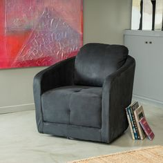 With a swivel feather built underneath the frame of the chair that is low to the ground, this chair is fun and comfortable to lounge around in. Its' sleek design makes it versatile and appealing for any room in your home.