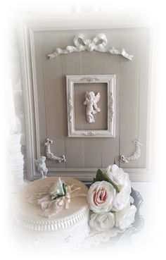 tableau lin Shabby chic et romantique encadrement travaillé : Décorations…