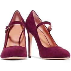 Halston Heritage - Carol Suede Pumps (590 PEN) ❤ liked on Polyvore featuring shoes, pumps, burgundy shoes, high heeled footwear, strap shoes, burgundy high heel shoes and high heel pumps
