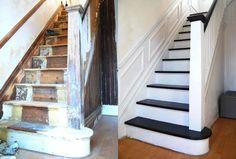 rénovation escalier avec peinture blanche et noire et moulure murale- photos avant-après Painted Staircases, Painted Stairs, Staircase Remodel, Staircase Makeover, House Stairs, Carpet Stairs, Edwardian Haus, Stair Rugs, Wall Molding
