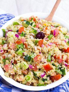 Pesto Quinoa Avocado Cucumber Tomato Salad Vegan Gluten Free Oil Free