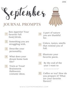 September 2016 Journal Prompts. New prompts released the beginning of each month…