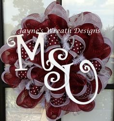 Deco Mesh Wreaths for either Missouri State University or Mississippi State University in maroon & white  Jayne's Wreath Designs on fb
