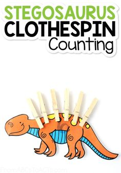 Give your dinosaur obsessed kiddo a chance to practice their counting, number recognition, and fine motor skills with this printable stegosaurus clothespin counting activity! It's so easy to prep and provides hours of dinosaur-themed fun and learning! #FromABCsToACTs Dinosaurs Preschool, Dinosaur Activities, Dinosaur Crafts, Counting Activities, Preschool Activities, Hands On Learning, Learning Through Play, Number Recognition, Fun Crafts For Kids