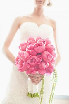 Hot Pink Peony Bouquet #hot #pink #wedding
