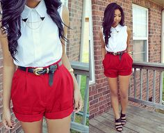 Diy Collar Chain Tips, White Sleeveless Collared Top, Red Shorts