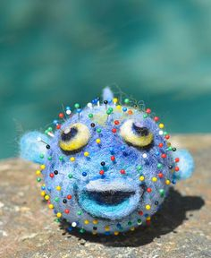 Needle felted puffer fish pincushion- for sale now on Ebay!