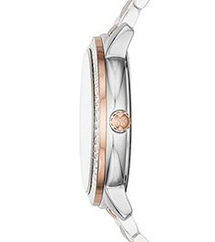 Madelyn Pavé Silver and Rose Gold-Tone Watch  by Michael Kors