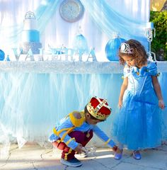 Cinderella Birthday Party Cake Table / Princess / Blue / Girl / Silver / Center Piece / Glitter / Glass Slipper / Prince Charming / Kids / Costumes / Dress up