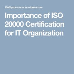 Iso 20000 Certification Iso Management Information Technology Services