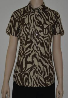 NWT Michael Michael Kors Brown zebra stripped blouse size 6 FREE SHIPPING $25.99 with FREE SHIPPING!