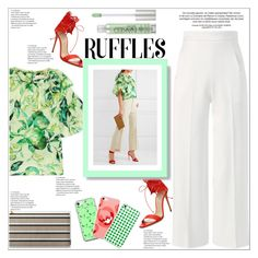 """""""Chic Ruffled Top"""" by atelier-briella ❤ liked on Polyvore featuring Merchant Archive, Casadei, Roland Mouret, Music Notes, Urban Decay, chic, Elegant, iPhonecases and ruffledtops"""
