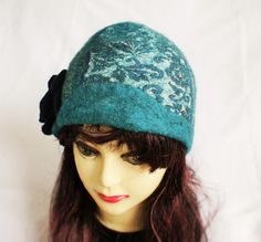 Wool Felt Hat Ready To Ship Dark Blue Flower Sea Green Turquoise Petrol Hats Unique Eco Winter Spring Fashion OOAK Felt Packable Casual Hat Felt Hat, Wool Felt, Dark Blue Flowers, Winter Springs, Very Lovely, Green Turquoise, Wool Sweaters, Fiber Art, Really Cool Stuff