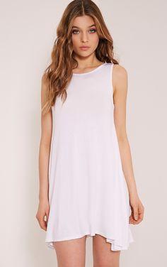 Basic White Sleeveless Swing Dress