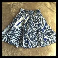 Banana Republic Flouncy Skirt Literally the perfect summer skirt! Flouncy & layered with a light, linen-y lining. Adorable & chic while ultra comfortable! Gorgeous pattern of blues, black, white. Great condition! Banana Republic Skirts A-Line or Full