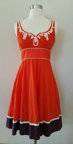 ANTHROPOLOGIE Floreat Poppy-Red & White Embroidered Slide Rule Day Dress 0…