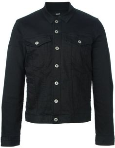 $357, Black Denim Jacket: Dondup Buttoned Denim Jacket. Sold by farfetch.com. Click for more info: https://lookastic.com/men/shop_items/329921/redirect