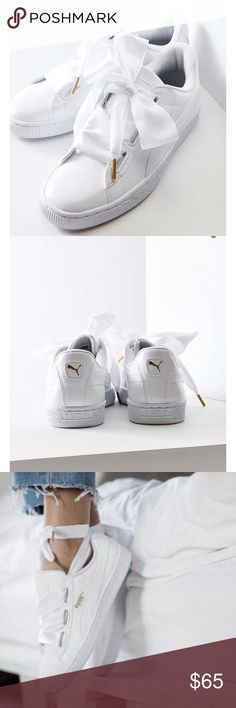 Puma Basket Heart Patent Leather Sneaker All white, patent leather Puma gym shoes! Come with two lace styles, satin and nylon-switch up your mood for more feminine or sporty look! Tuck the laces in, have a bow, or even wrap them around your ankle! These shoes are going to be hot ladies! All white, and oversized lacing systems are going to put you right ahead of the trends! Worn once-great condition no signs of wear! Puma Shoes