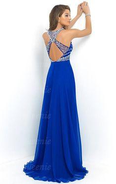 3adb2bab719c56 Wunderbares langes blaues Chiffon Ballkleid Abendkleid  LFNDB0011-Queeniekleid.de Ballkleider Uk, Datum Kleider