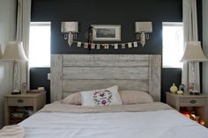 whitewashed wood plank headboard - i lik e this theme... wish we could paint the walls.