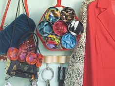 Can the Closet Clutter  Simply tie cans tightly with cording or material strips and suspend from your clothes rack for instant organization of items not so easy to organize!!!!