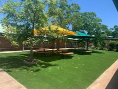 Completed synthetic grass job at Quakers Hill, transforming this area into a perfect shady spot for the kids lunch breaks. #syntheticgrass #playground #schoolyard #softfall #fakegrass #play #transform Fake Grass, Commercial Flooring, Central Coast, Wet And Dry, Pavement, Newcastle, Playground, Fields, Golf Courses